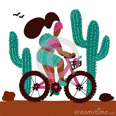 Young woman with a backpack and wearing a helmet rides a mountain bike alonf big cactuses. Isolated white background cartoon Stock Photo
