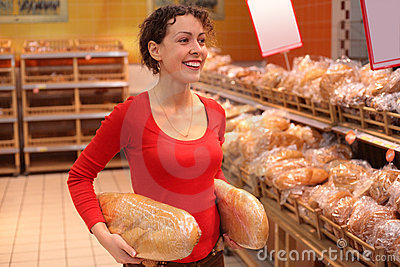 Young woman in bakery