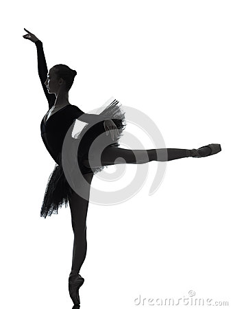Free Young Woman Ballerina Ballet Dancer Dancing Silhouette Stock Photography - 37447282