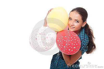 Young woman with balloons for happy birthday
