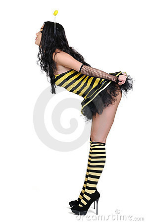 Young woman in the bee costumes