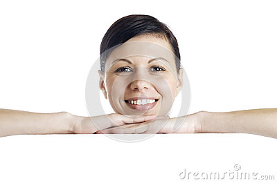 Smiling woman holding billboard