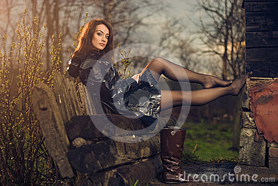 Young woman on a bench