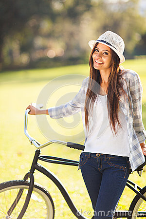 Young woman bicycle