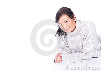 Young woman in bight sweater
