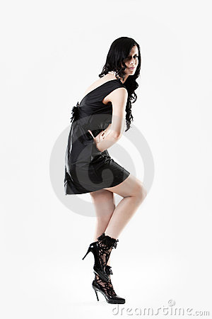 Young Woman In Black Dress And High Heels Royalty Free Stock Photos - Image: 10614648