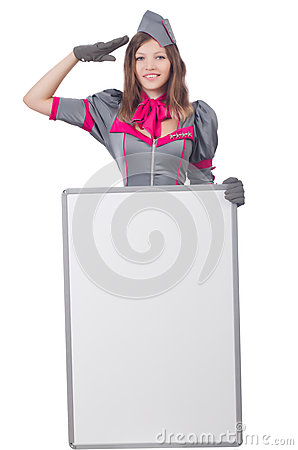 Young woman with blank board