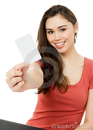 Young woman with blank credit card