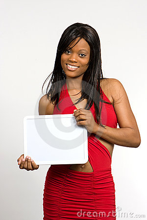 Young Woman With Blank Slate Stock Images - Image: 7614134