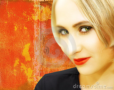 Young woman with blond hair on grungy red background