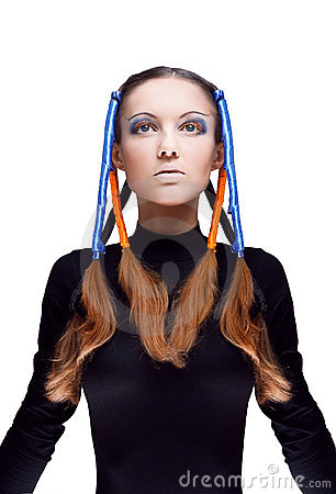 Young woman with blue and orange ribbons