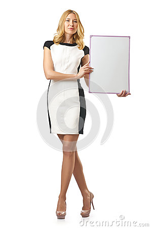 Young woman with  board