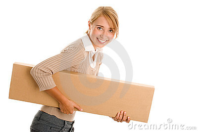 Young woman with board box