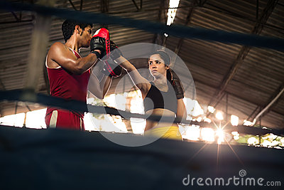 Young woman at boxing and self defense course