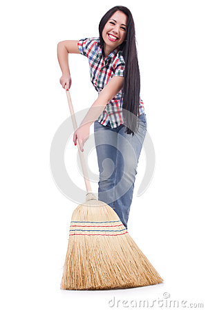 Young woman with broom