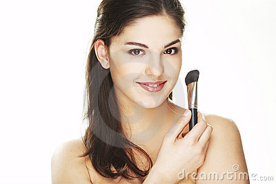 Young woman with brush