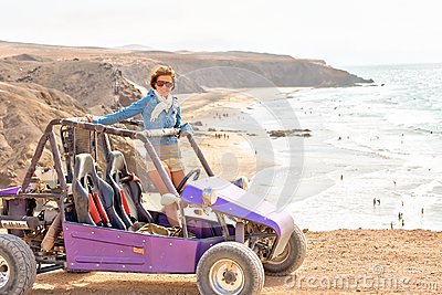 Young woman on buggy