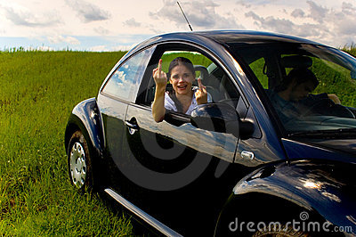 Young woman in car 1