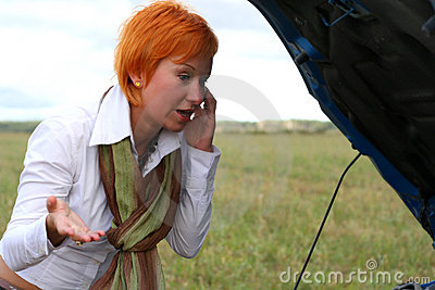 Young woman with car
