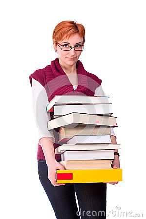 Young woman carries books