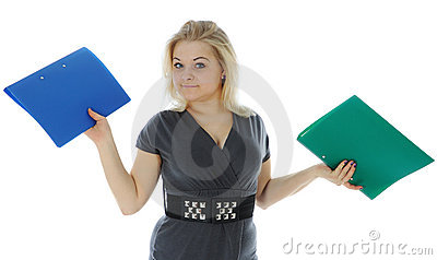 The young woman carrying folders