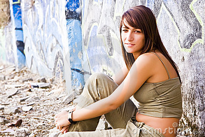 Young woman in casual clothing