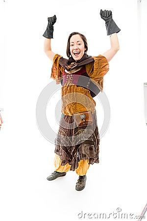 Young woman celebrating success