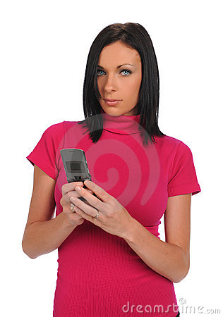 Young Woman with cell phone texting
