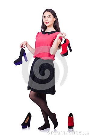 Young woman with choice of shoes