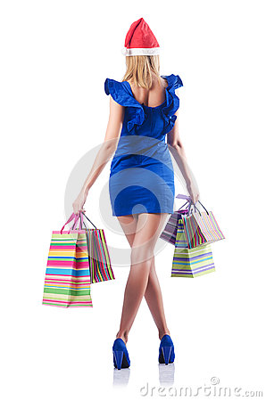 Young woman - christmas shopping concept
