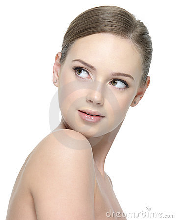 Young woman with clean beauty skin