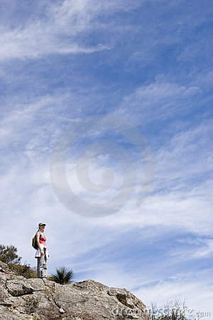 Young woman climbing Mt Maroon 2