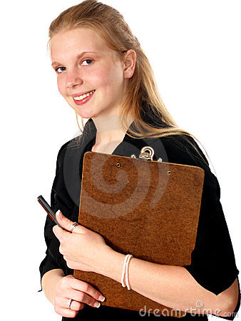 Young Woman Clipboard
