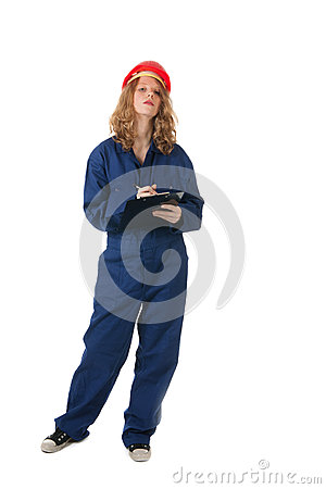 Young woman with clipboard