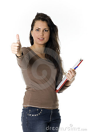 young woman with clipboard, thumb up