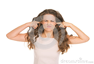 Young woman closing ears