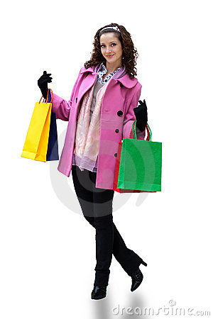 Young woman with color bags