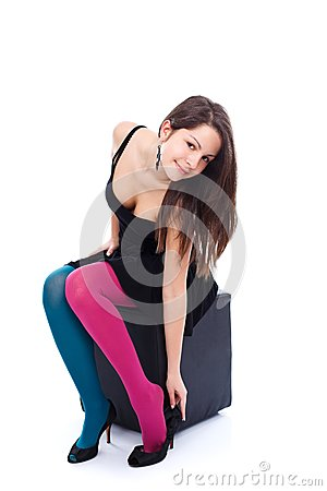 Young woman in colorful tights