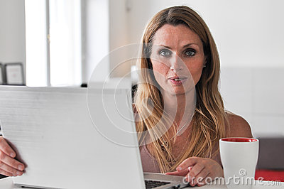 Young woman computer