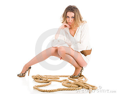 Young woman with cord