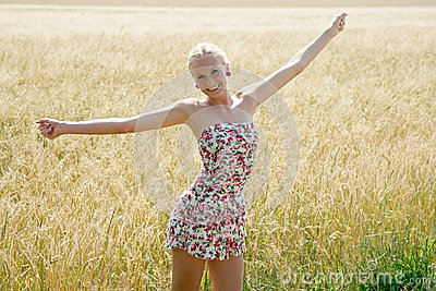 Young Woman In A Cornfield Stock Image - Image: 34474551