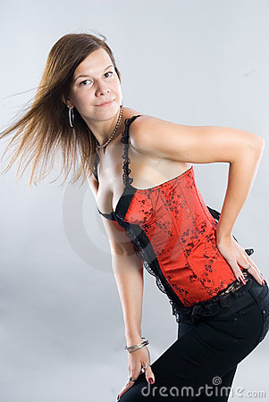 Young woman in corset
