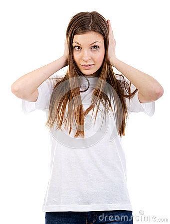 Young Woman Covers ear With Hand