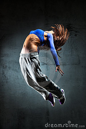 Free Young Woman Dancer Jumping Stock Photography - 17251552
