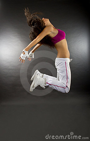 Free Young Woman Dancer Jumping Stock Photo - 20572770