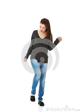 Free Young Woman Dancing And Laughing Stock Images - 47066204
