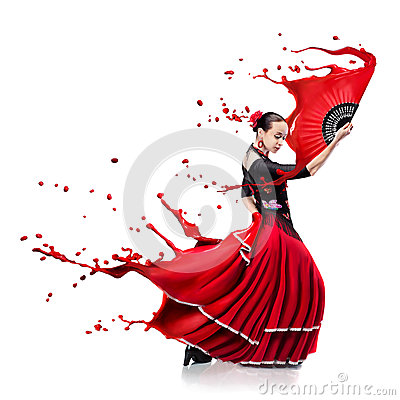 Free Young Woman Dancing Flamenco With Paint Splashes Isolated On Whit Stock Photos - 72526443
