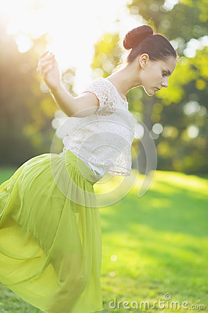 Free Young Woman Dancing In Forest Stock Photos - 26381693