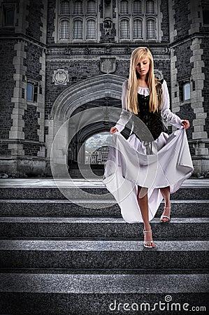 Young Woman Descending Steps of Castle
