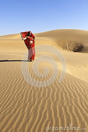 Young woman in the desert.